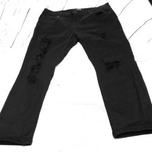 Black straightleg distressed jeans Size 30/10P